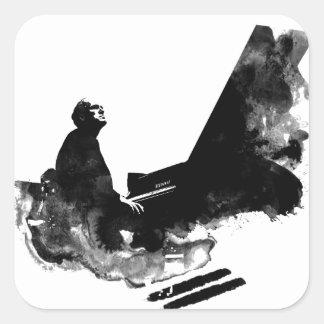 Adesivo Quadrado pianista