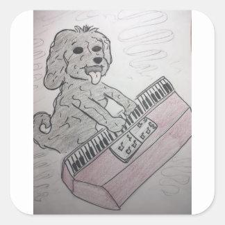 Adesivo Quadrado piano do filhote de cachorro