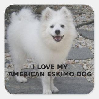 Adesivo Quadrado PIC de American_Eskimo_Dog_love w