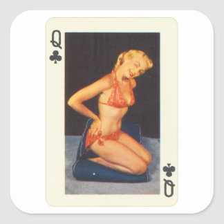 Adesivo Quadrado Pin do vintage acima da rainha do cartão de jogo