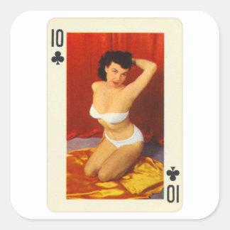 Adesivo Quadrado Pin do vintage acima do cartão de jogo dez da