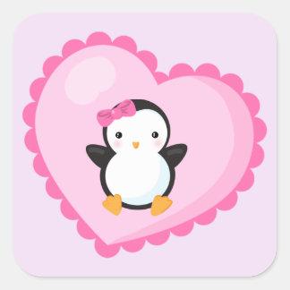 Adesivo Quadrado Pinguim bonito da menina na luz grande - coração