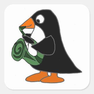 Adesivo Quadrado Pinguim bonito que joga desenhos animados do