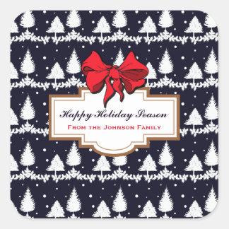 Adesivo Quadrado Pinheiros e família feliz da época natalícia da