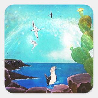 Adesivo Quadrado Pintura azul dos pássaros de vôo do oceano
