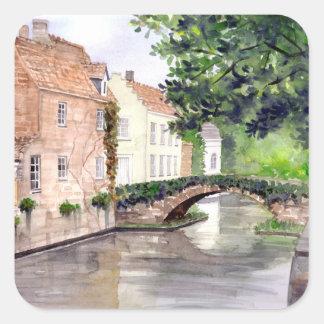 Adesivo Quadrado Pintura da aguarela de Bruges pelo Greenfield de