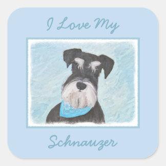 Adesivo Quadrado Pintura (diminuta) do Schnauzer - cão original