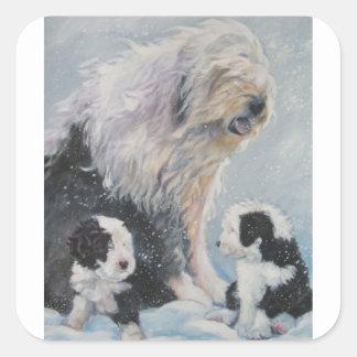 Adesivo Quadrado Pintura inglesa velha do SheepDog do inverno