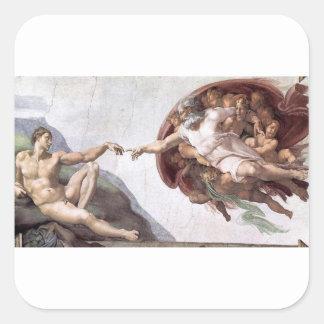 Adesivo Quadrado Pintura original de Michelangelo na capela Roma do