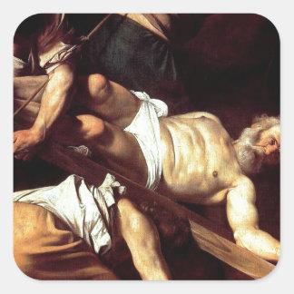 """Adesivo Quadrado Pintura original """"La crocifissione di s Pietro """""""