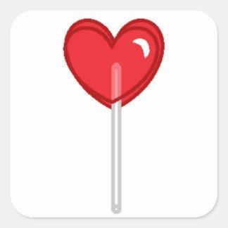 Adesivo Quadrado pirulito vermelho do coração