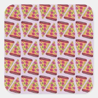 Adesivo Quadrado pizza floral