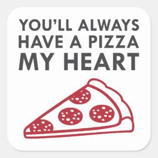 Adesivo Quadrado Pizza meu coração
