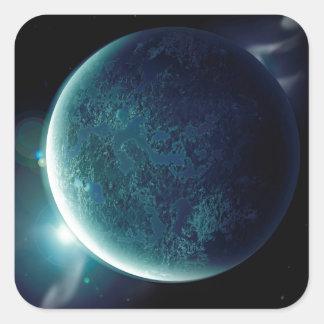 Adesivo Quadrado planeta verde no universo com aura e estrelas