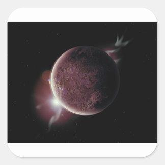 Adesivo Quadrado planeta vermelho no universo com aura e estrelas