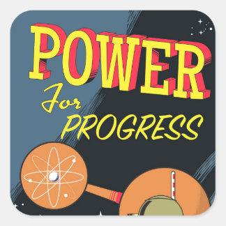 Adesivo Quadrado Poder para o poster atômico do vintage do