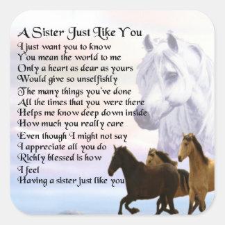 Adesivo Quadrado Poema da irmã dos cavalos