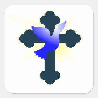 Adesivo Quadrado Pomba e cruz