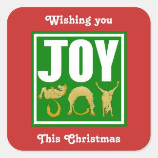 Adesivo Quadrado Pôneis do Natal da alegria