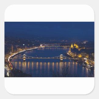 Adesivo Quadrado Ponte Chain Hungria Budapest na noite