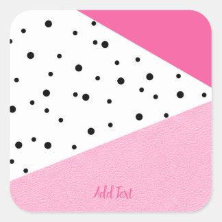 Adesivo Quadrado Pontos pretos de couro cor-de-rosa geométricos