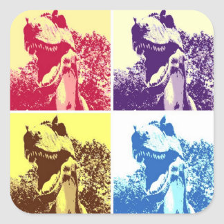 Adesivo Quadrado Pop art de T-Rex