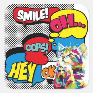 Adesivo Quadrado Pop art icónico da esperança cómica colorida do