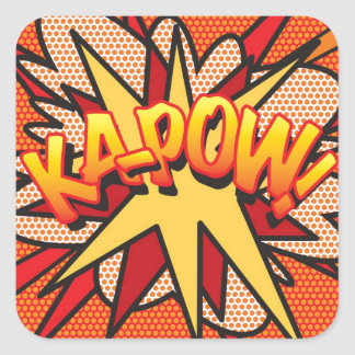 Adesivo Quadrado Pop art KA-POW da banda desenhada!