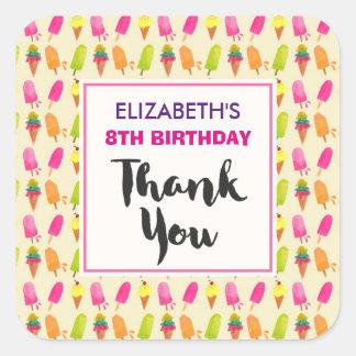 Adesivo Quadrado Popsicles e obrigados do aniversário do teste