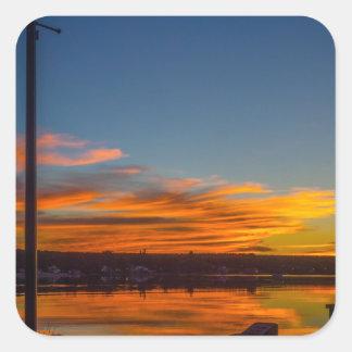 Adesivo Quadrado Por do sol da baía de Liverpool