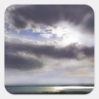 Adesivo Quadrado Por do sol sobre o lago