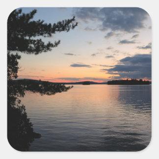 Adesivo Quadrado Por do sol sobre o lago Maine Millinocket da ilha