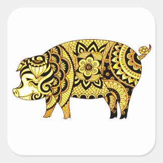Adesivo Quadrado Porco