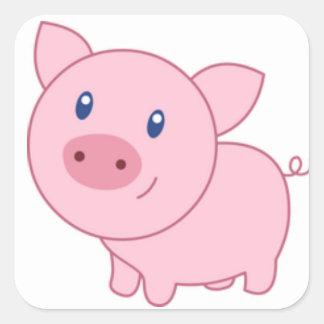 Adesivo Quadrado Porcos cor-de-rosa