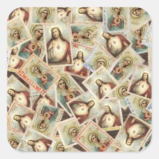 Adesivo Quadrado Porte postal sagrado abençoado do coração da
