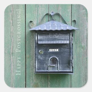 Adesivo Quadrado Postcrossing feliz! Caixa postal