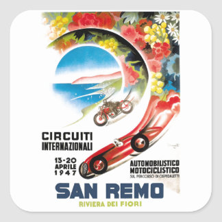 Adesivo Quadrado Poster 1947 grande da raça de San Remo Prix