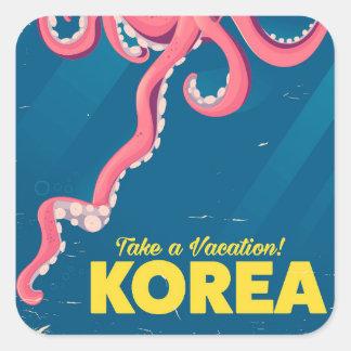 Adesivo Quadrado Poster das férias de Coreia