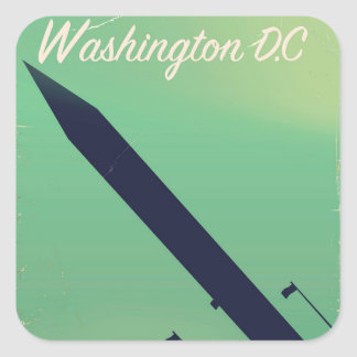 Adesivo Quadrado Poster das viagens vintage da C.C. de Washington