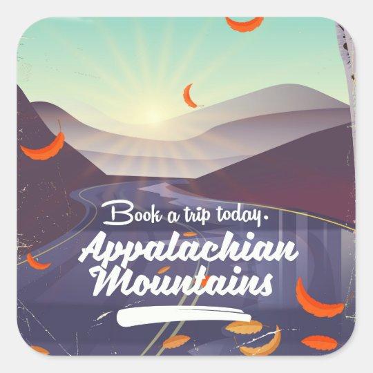 Adesivo Quadrado Poster das viagens vintage das montanhas apalaches
