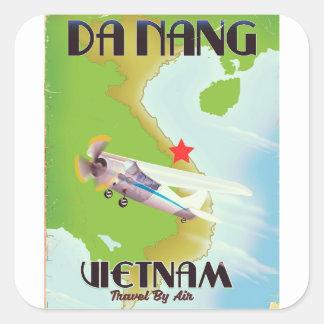 Adesivo Quadrado Poster das viagens vintage de Vietnam do Da Nang