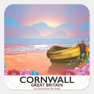 Adesivo Quadrado Poster das viagens vintage do barco de pesca de