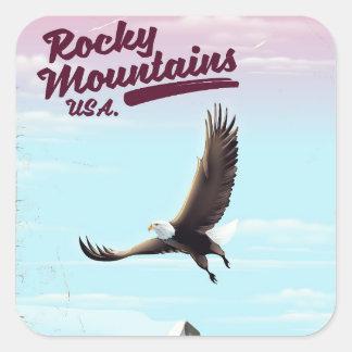 Adesivo Quadrado Poster das viagens vintage dos EUA das montanhas