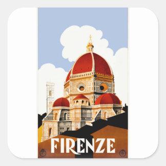 Adesivo Quadrado Poster de viagens 1930 do domo de Florença Italia