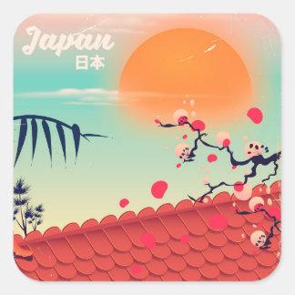 Adesivo Quadrado Poster de viagens da paisagem de Japão