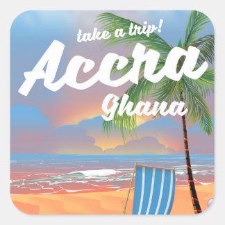 Adesivo Quadrado Poster de viagens da praia de Accra Ghana