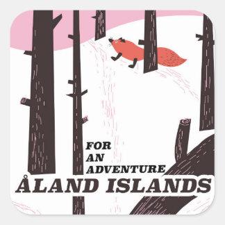 Adesivo Quadrado Poster de viagens das ilhas de Åland, Finlandia