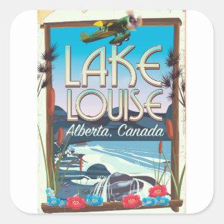 Adesivo Quadrado Poster de viagens de Lake Louise, Alberta Canadá