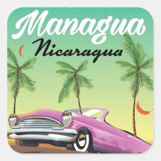 Adesivo Quadrado Poster de viagens de Managua - de Nicarágua