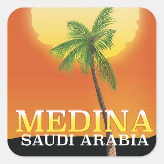 Adesivo Quadrado Poster de viagens de Medina Arábia Saudita